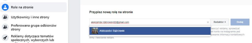 Przydzielanie uprawnień do strony na Facebooku