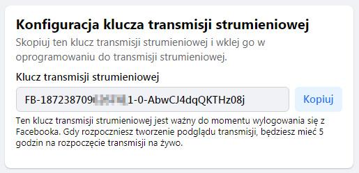 Klucz transmisji na Facebooku